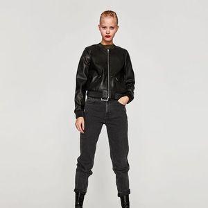 Zara TRF Faux Leather Bomber Jacket (Size M)